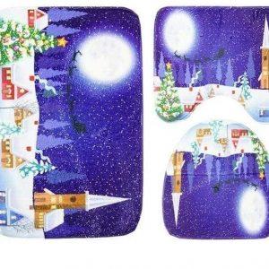 3-Piece Christmas Bathroom Set - Toilet Seat Cover and Rug 3pcs 08 / China Trendy Joys