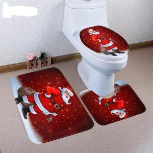 3-Piece Christmas Bathroom Set - Toilet Seat Cover and Rug Trendy Joys