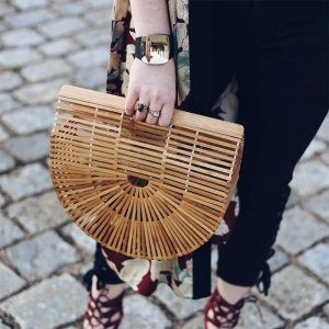 Bamboo Bag - Purse black big Trendy Joys