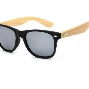 Bamboo Wooden Sunglasses Black Rim, Gray Lens Trendy Joys