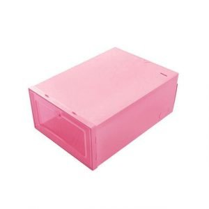 Drawer-Type Stackable Shoe Box Storage Pink Trendy Joys
